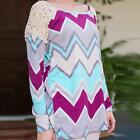 Womens Long Sleeve Stripe Lace Round Neck Casual T-Shirt Tops Blouse Shirts 9E99
