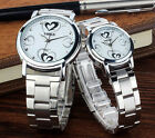 Unisex Womens Mens Couples Stainless Steel Watch Classic Waterproof Quartz Watch