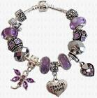 LILAC & Silver Dangle Charm Bead Bracelet Personalised Message + GIFT BOX