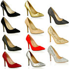 WOMENS LADIES HIGH STILETTO HEEL GLITTER METALLIC PARTY WEDDING COURT SHOES SIZE