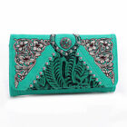 Realtree Tooled Leather Tri-fold Wallet with Turquoise Concho