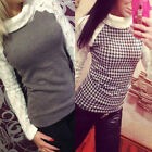 New Women's Lace Basic Hoodies Sweater Fall Long Sleeve Turtleneck Pullover Top