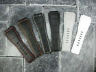 24mm Bell & Ross Grain Leather Strap Black Watch Band BR-01 BR-03 White Grey