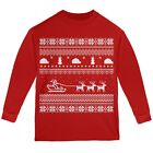 Santa Sleigh Ugly Christmas Sweater Red Youth Long Sleeve T-Shirt
