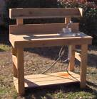 NEW 5 FT CEDAR POTTING BENCH GARDENING BENCHES WITH SINK WITH UPPER SHELF