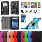 """For Amazon Fire 7"""" 5th 2015 Model Rotating Stand Case PU Leather Cover Bundle"""