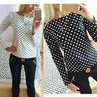 Women Vogue Polka Dot Blouse Long Sleeve Tops Wave Point Pullover Shirt CA10