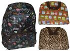 Foldable Backpack Light Weight Compact Travel Rucksack - Owls / Leopard Print