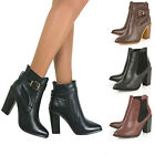 WOMENS LADIES CHUNKY MID HEEL BUCKLE GOLD ZIP CHELSEA BIKER ANKLE BOOTS SIZE