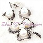 8.10mm Round Pearl Shell Marcasite Tibetan Silver Classical Pendant Earrring