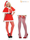 Ladies Sexy Miss Santa Costume + Stockings Christmasb Womens Fancy Dress Outfit