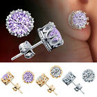 Women Vogue Attractive Rhinestone Silver Plated Crown Style Ear Stud Earrings