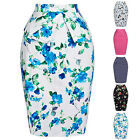 Vintage New Women's High Waisted Fitted Stretch Bodycon Plain Midi Pencil Skirt