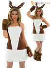 Ladies Sexy Reindeer Fancy Dress Costume Rudolph Xmas Outfit Adults UK 8 - 18