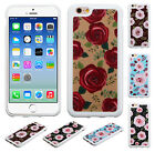 For Apple iPhone 6 / 6s TPU Gel GUMMY Hard Roses Skin Case Phone Cover Accessory
