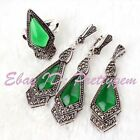 9x11mm Rhombus Green CZ Crystal Marcasite Tibetan Silver Classical Party Jewelry