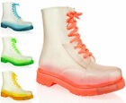 WOMENS LADIES FLAT CLEAR FESTIVAL JELLY WELLIES WELLINGTON LOW ANKLE RAIN BOOTS