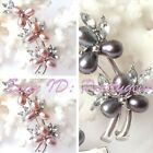 6-8mm Oval Freshwater Pearl Natural Stones White Gold Plaeted Brooch 25X60mm1 Pc