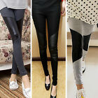 Chic Fashion Sexy Women Stitching Stretchy Faux Leather Black Leggings Pants