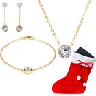 18ct Gold-Plated Set with Swarovski Elements Necklace Bracelet Earrings Stocking