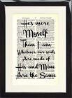 Art Print Antique Dictionary Page Quote He's more myself Souls Wuthering Heights