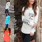 Women's Girls Casual Long Sleeve Loose Tops Geometric Printed Autumn T-shirt
