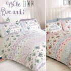 Wake Up Rise & Shine Duvet Cover Set with Vintage Cottage Roses & Flowers Print
