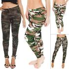 New Womens Ladies Camouflage Camo Print Full Length Leggings Size 8-14 S M L XL