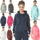 New Womens High Comfort Plain Hooded Casual Tracksuit S M L