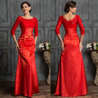 3/4 Sleeve Lace+Satin Wedding Evening Formal Prom Gown Bridesmaid Masquerade NEW