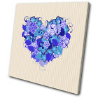 Love Hearts Floral Colourful SINGLE CANVAS WALL ART Picture Print VA