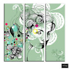 Floral Portrait Fashion Abstract BOX FRAMED CANVAS ART Picture HDR 280gsm