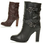 WOMENS LADIES BLOCK HIGH HEEL SLOUCH SMART PULL ON MID CALF ANKLE BOOTS SIZE