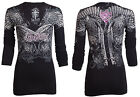 Rebel Saints AFFLICTION Womens LS T-Shirt RAVENOUS Guns Biker UFC Sinful $58