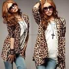 New Fashion Women Leopard Print Slim Irregular Top Long Sleeve Shirt Blouse ItS7