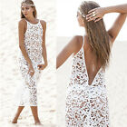 Sexy Women Lace Crochet Backless Bikini Cover-Up Long Maxi Beach Dress Swimmwear