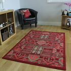 NEW RED TRIBAL TRADITIONAL RUG SMALL LARGE RUG SOFT EASY CLEAN LIVING ROOM MAT