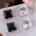 PRETTY 8MM SQUARE CZ CRYSTAL NO EAR HOLE MEN UNISEX MAGNETIC STUD EARRING 1 PAIR