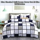 Checked Duvet Quilt Doona Cover Set Single/Double/Queen/King Size Bed Linen New