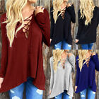 Sexy Womens Front Plunge Lace up Tie Casual Blouse Top Long Sleeve Hoodie Shirts