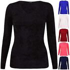 Womens V Neck Ladies Stretch Long Sleeve Fluffy Knit Bodycon Sweater Jumper Top