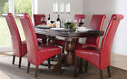 Chatsworth Extending Dark Wood Dining Table and 6 Chairs Set (Boston Red)