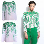 Summer Women Long Sleeve Hollow Tops Elegant Chiffon Shirt Green Casual Blouse
