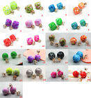 Hot 21Colors Candy Rainbow Double Side Two Ball Earring Stud Rhinestone Crystal