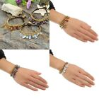 Retro Natural Crystal Copper Bell Handmade Braided Wrist Band Bracelet Cuff