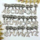 5pcs AB Clear Crystal Rhinestone Silver Letters Dangle European Spacer Beads
