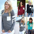 Womens Ladies Casual Pocket Tops Shirt Pullover Long Sleeve Loose T-Shirt Blouse