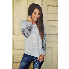 New Women's Lace Blouse Loose Cotton Tops Long Sleeve Shirt Casual Lady T Shirt