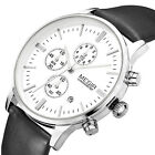 MEGIR Stainless Steel Leather Men's Sport Date Analog Quartz Wrist Watch