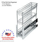 """4""""-6"""" Wide 3 Baskets Base Cabinet Spice Pull-Out Wire Basket Organizer Chrome"""